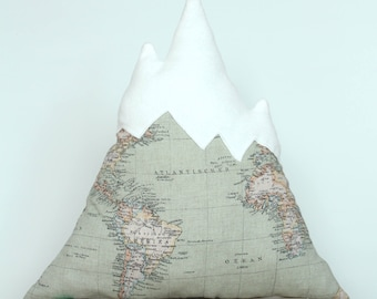 Mountain cushion with country map and soft mountain top, cushion, handmade, unique gift, interior accessories
