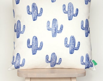Cushion cover with blue cacti, hand-stamped