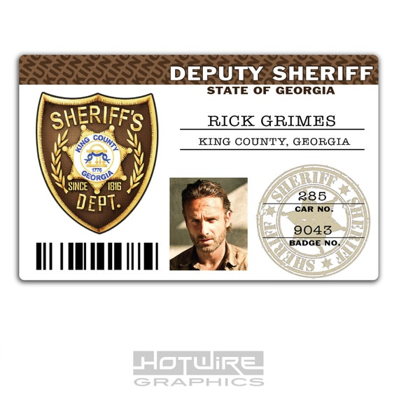 Plastic ID Card TV Series Prop Rick Grimes The WALKING