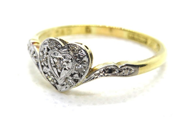 Art Deco Diamond Love Heart Ring ~ set in 18ct Yel