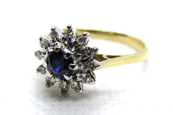 Vintage Sapphire and Diamond Cluster Ring ~ Set in