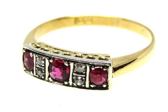 Art Deco Ruby and Diamond Ring ~ set in 18ct Yello
