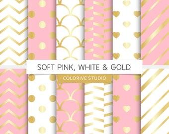 Soft Pink, White U0026 Gold Digital Paper, Light Pink And Gold, White And Gold,  Gold Wedding, Scrapbook Papers (Instant Download)