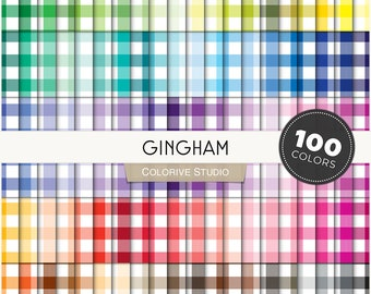 Gingham Digital Paper Set in Pastel Rainbow Colors SVG PNG digital paper pack Plaid for collage and scrapbook Instant download