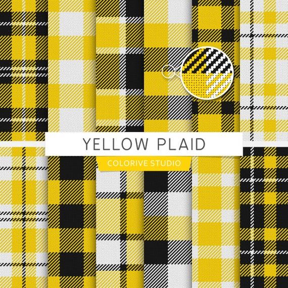 Yellow Plaid Digital Paper Plaid Tartan Buffalo Check Checkered