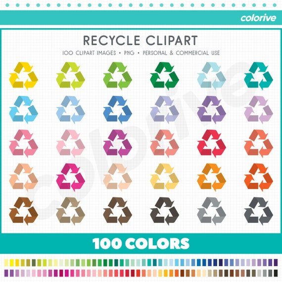 Recycle Clipart 100 Rainbow Colors Recycling Symbol Png Etsy