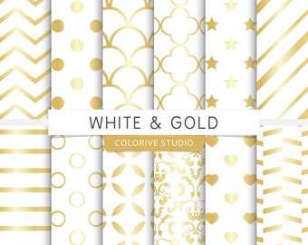 White & Gold digital paper, gold and white, stripes, damask, scales, gold wedding, scrapbook papers (Instant Download)