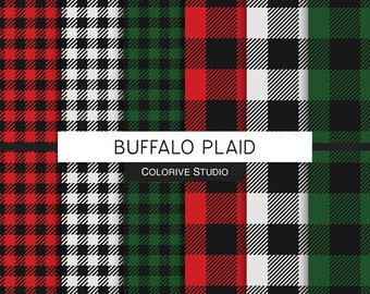 Buffalo Plaid digital paper, red green white and black checkered plaid, lumberjack, gingham, scrapbook papers personal and commercial use