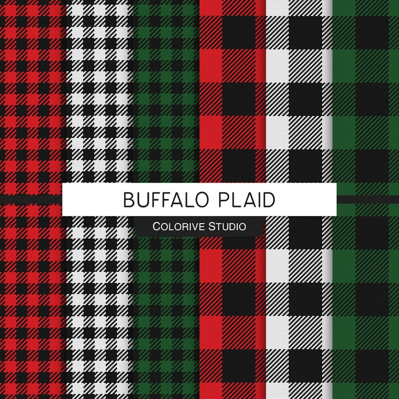 Buffalo Plaid digital paper red green white and black image 1