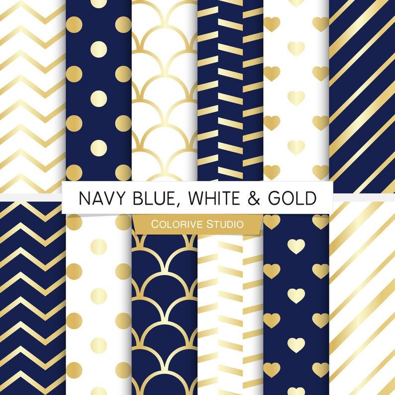Navy Blue White Gold Digital Paper Navy Dark Blue And Etsy