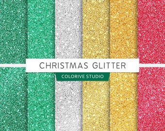 Christmas Glitter digital paper, metallic glitter, merry christmas, holiday, glitter textures, scrapbook papers (Instant Download)