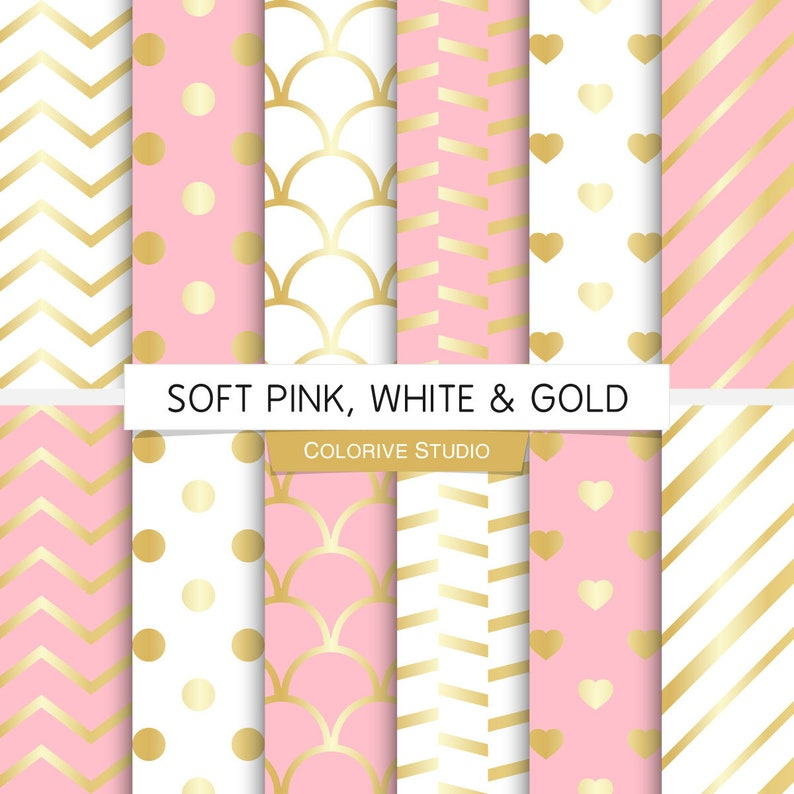 Soft Pink White & Gold digital paper light pink and gold image 0