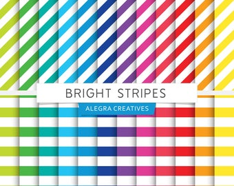Bright Stripes digital paper, striped, diagonal stripes, horizontal, brights, rainbow colors, scrapbook papers (Instant Download)