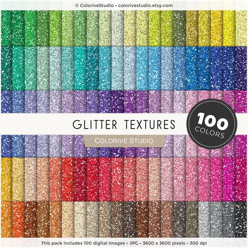 Glitter digital paper 100 rainbow colors metallic glitter image 0