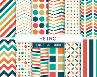 Retro digital paper, stripes, dots, chevron, polka dot, geometric, patterns, scrapbook papers (Instant Download)