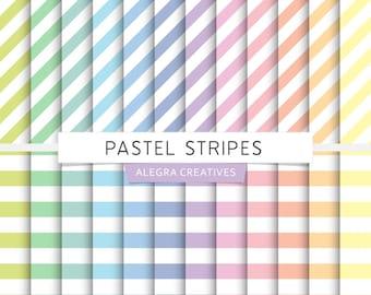 Pastel Stripes digital paper, striped, diagonal stripes, straight stripes, rainbow, soft, pastels, scrapbook papers (Instant Download)