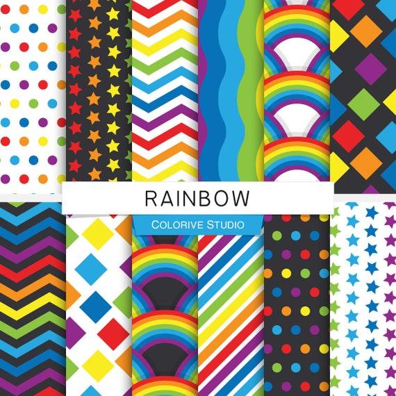 regenbogen digitales papier bunt 7 farben regenbogen und etsy. Black Bedroom Furniture Sets. Home Design Ideas