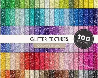 Glitter digital paper 100 rainbow colors seamless metallic glitter textures gold glitter bright pastel scrapbook papers commercial use