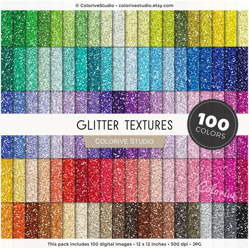 Glitter digital paper 100 rainbow colors seamless metallic image 1