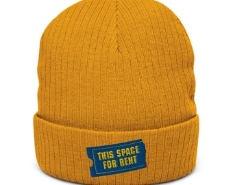 This Space For Rent recycled cuffed beanie