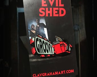 """Evil Shed 1.75"""" Enamel Pin"""