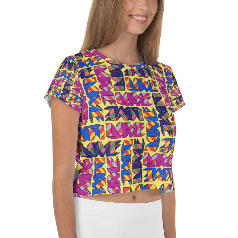 LOVE stacked all-over crop top
