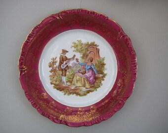 Vintage Limoges Fragonard large plate burgundy/white/gold colour, made in France.