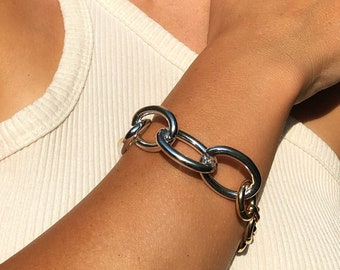 Silver and Gold Two Tone Chain Bracelet, Chunky Mixed Chain Bracelet
