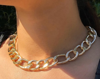 Gold Chunky Chain Choker Necklace, Figaro Chain Necklace, Short Choker Necklace, Choker Necklace For Women