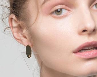 Triangle Acrylic Earrings-Triangle Drop Earrings-Minimal Earrings-Triangle Designed Earrings-Festival Earrings-Triangle and Gold Earrings