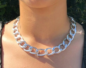 Silver Chunky Chain Choker Necklace, Figaro Chain Necklace, Short Choker Necklace, Choker Necklace For Women