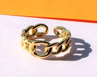 Adjustable Gold Figaro Chain Ring, Statement Ring, Fashion Ring for Her, Chunky Gold Ring, Adjustable between sizes L to Q
