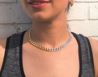 Silver And Gold 2 Tone Curb Chain Choker Necklace, Chunky Chain Necklace