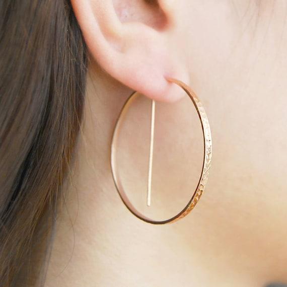 Rose Gold Hoop Earrings Geometric Earrings Round Hoops Edgy Etsy