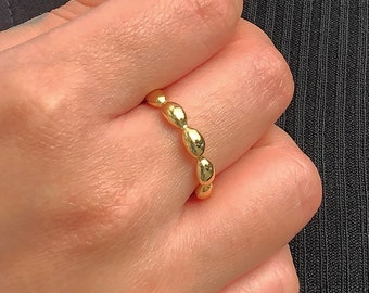 Adjustable Gold Pebble Rings, Statement Gold Organic Ring, Chunky Fashion Rings for Women Adjustable between sizes L - Q