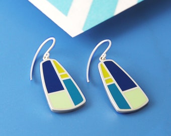 Geometric Earrings, Silver Earrings, Art Deco Earrings, Abstract Earrings, Silver Drop Earrings, Colourful Earrings, Patterned Earrings