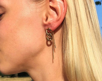Gold Curb and Trace Chain Stud Earrings, Dangle Drop Earrings, Tassle Earrings, Unisex Stud Earrings, Titanium Earring