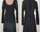 Cream Sion Gothic Dress Black with Embroidery and Prints Size S M