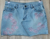 Indigo Denim Mini Jeans Skirt with Pockets Embroidered Flowers 100 Cotton Size L