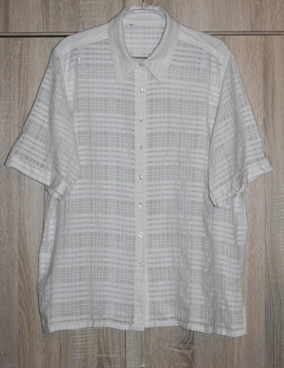 White Checked Blouse Size XL Joie de Vivre Vintage Blouse