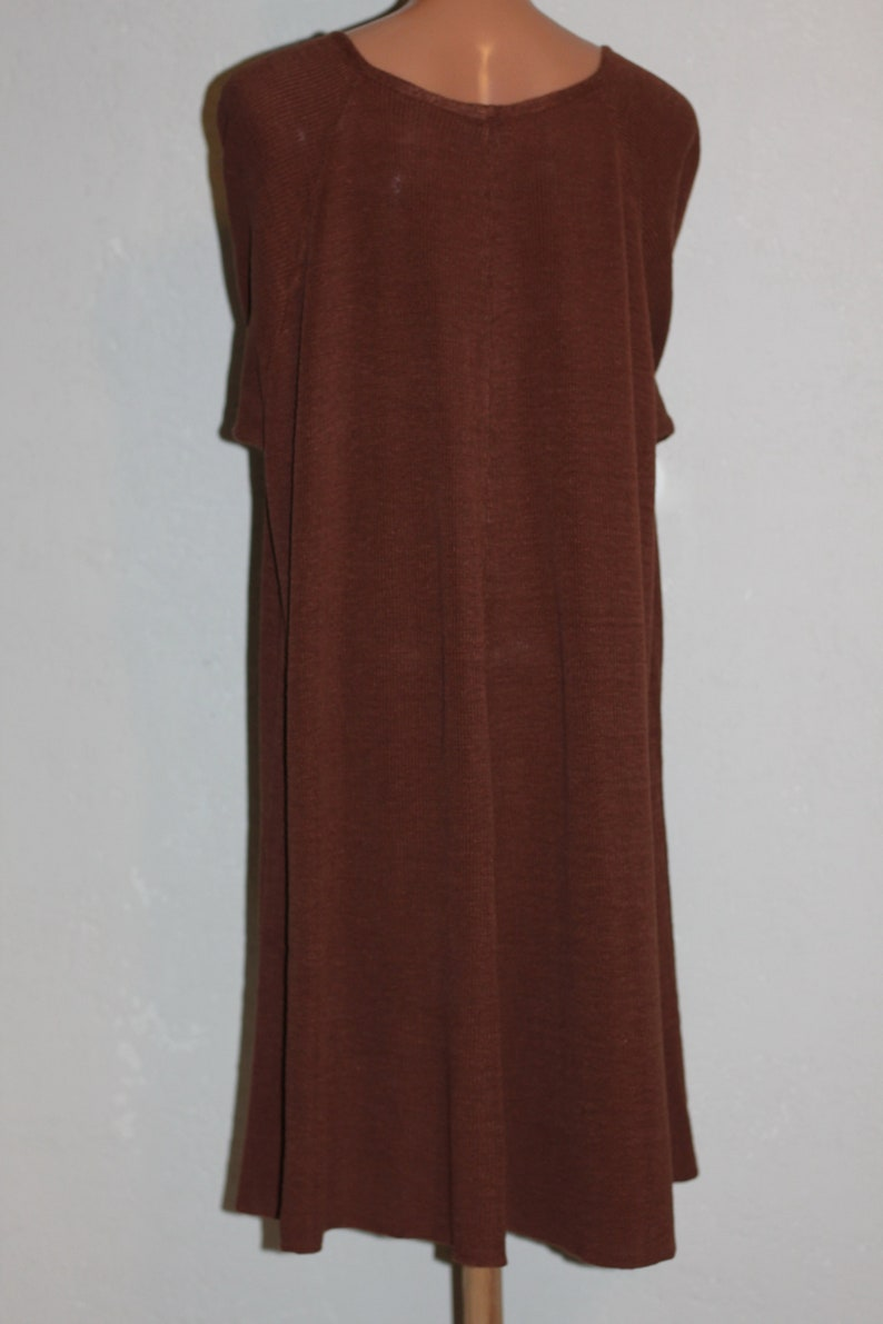 Vintage Pure Linen Brown Knitted Dress Plus Size image 1