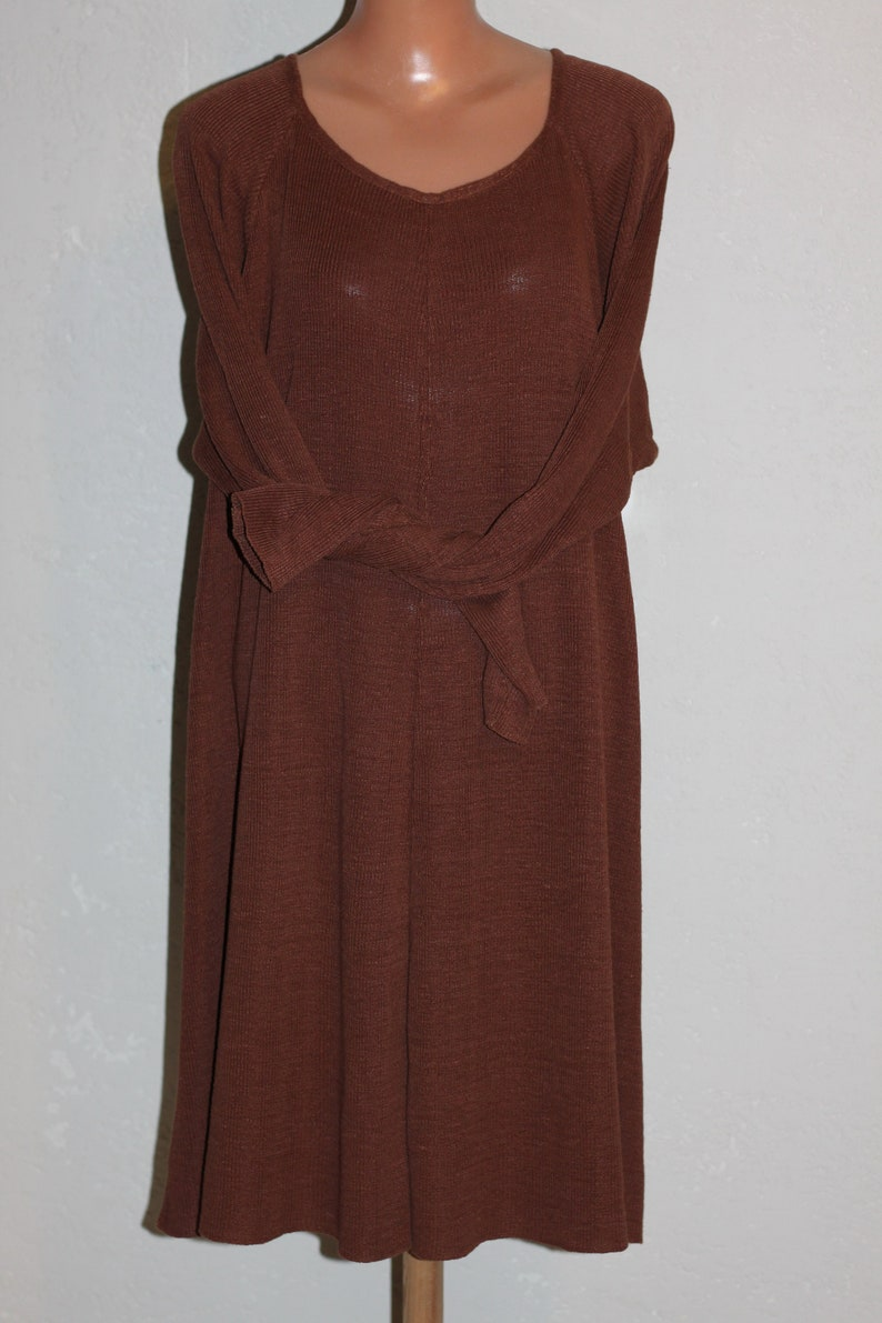 Vintage Pure Linen Brown Knitted Dress Plus Size image 0
