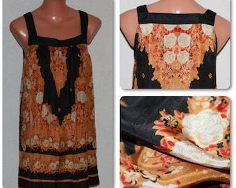 Silk Black Orange Roses Mini Dress Beach Tunic Sleeweless Top Size S