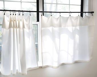 White curtains|Farmhouse curtains frayed edge|Drop cloth style|Small boho curtains