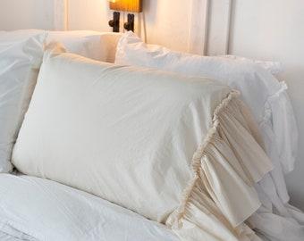 Farmhouse pillowcase Pillow cover with ruffle