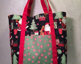 Large Tote Bag - Cotton and canvas, Debbie Mumm Christmas fabric