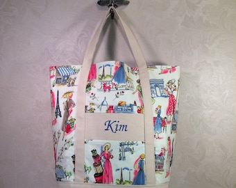 Large Tote Bag -Monogrammed, Cotton and canvas, handmade, Michael Miller, Springtime in Paris fabric