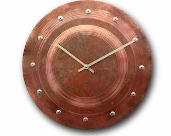 Patina copper clock, Wall clock, Home decor, Original clock, Hand made clock, design clock, clock, rustic clock, clocks