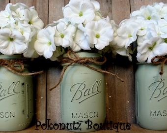 Green Painted Mason Jars, Painted Mason Jars, Country Decor, Vases, Rustic Decor, Farmhouse Jars, Shabby Chic Mason Jars, Shower Centerpiece