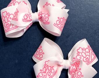 Princess Hair Bow Set, Pink Princess Hair Bows, 4 Inch Hair Bow Set, Boutique Hair Bow Set, Girls Hair Bows, Toddler Hair Bows, Baby HairBow